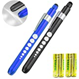 Pen Light, Escolite LED Penlight Medical with Pupil Guage for Doctors Nurses White Blue and Black