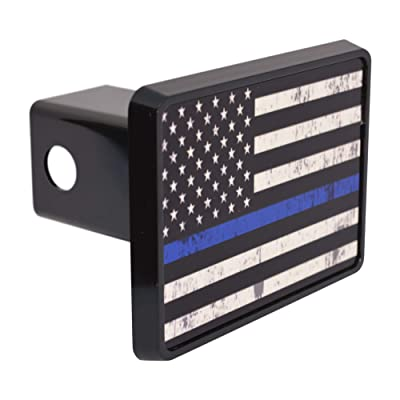Tattered Thin Blue Line Flag Trailer Hitch Cover Plug US Blue Lives Matter Police Officer Law Enforcement: Automotive
