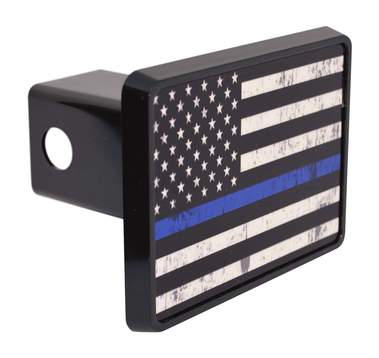 Tattered Thin Blue Line Flag Trailer Hitch Cover Plug US Blue Lives Matter Police Officer Law Enforcement Rogue River Tactical VV299