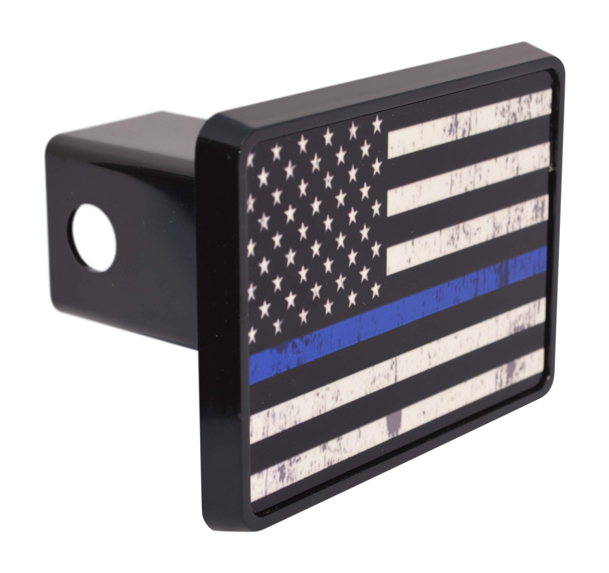 Tattered Thin Blue Line Flag Trailer Hitch Cover Plug US Blue Lives Matter Police Officer Law Enforcement by Rogue River Tactical