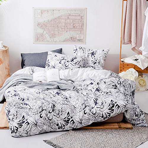 mixinni White Leaves Print Duvet Cover 2 Pillowcases Modern Blue Leaf Flower Duvet Cover Queen Full Size Bedding Set with Zipper Ties for Her and Him-Easy Care, Soft and Durable