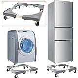 Base de machine à laver réfrigérateur Chariot Roller réglable Support avec 4 Roulettes en caoutchouc 46 - 65 x 46 - 65 cm pour sèche-linge Machine à laver rotatif réfrigérateur et autres Appareils