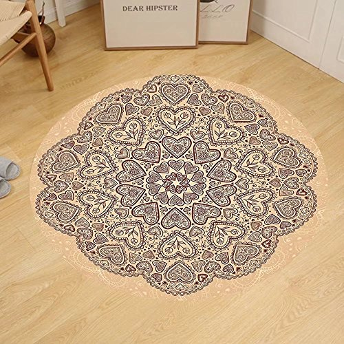 - Gzhihine Custom round floor mat Beige Decor Ethnic Heart And Tulip Motifs Antique Floral Oriental Asian Vintage Styled Boho Chic Bedroom Living Room Dorm Decor Chocolate Beige