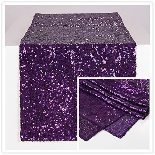 Zdada Sequin Table Runner Sparkly Metallic Sequin Runner for Wedding Party Dinner Reception-Purple 12