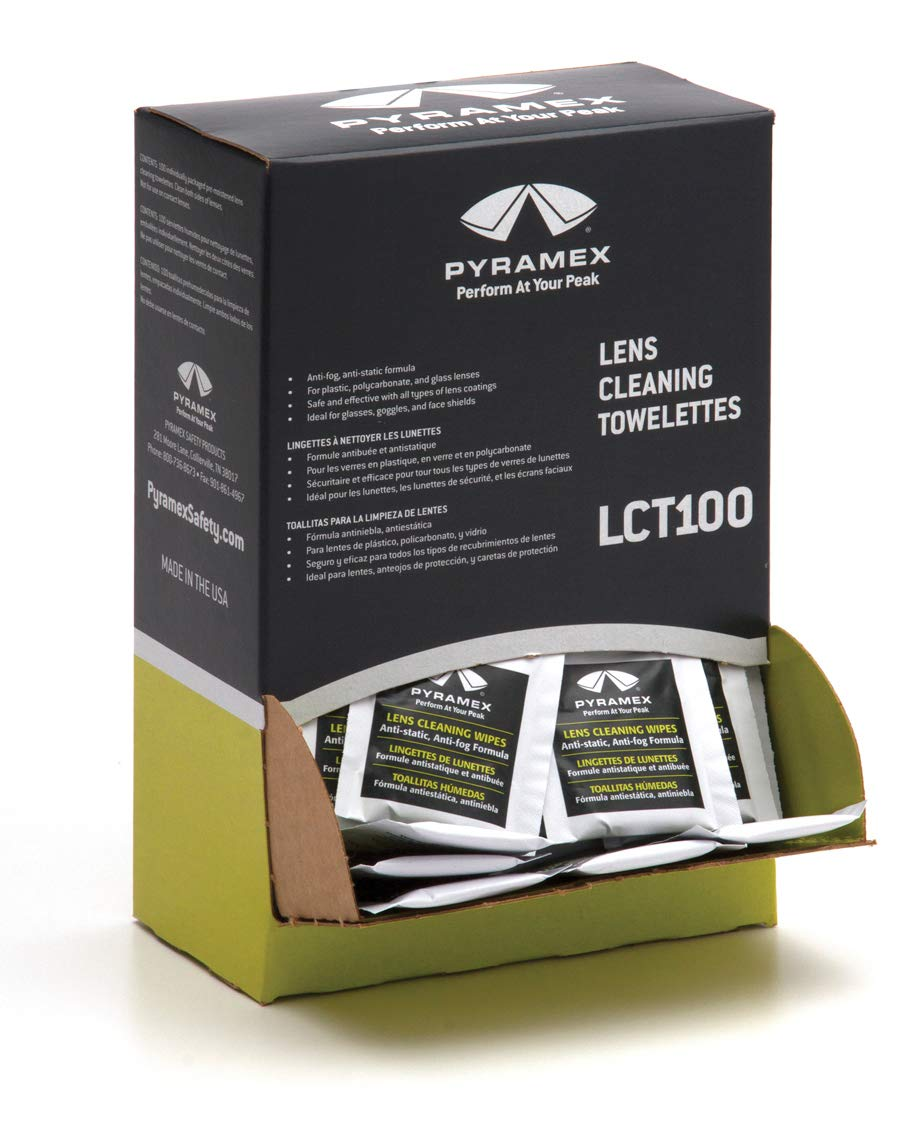 "Pyramex Individually Packaged Lens Cleaning Towelettes – 100 Pack – 8"" x 5"" Size"