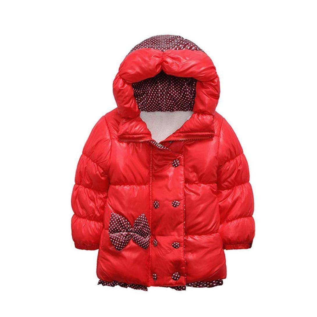 Clode® 2-5 Years Old Girls, Kids Baby Girls Winter Warm Dot Cotton-Padded Hoodies Jacket Coat Snowsuit Outwear Clode-TS-003443