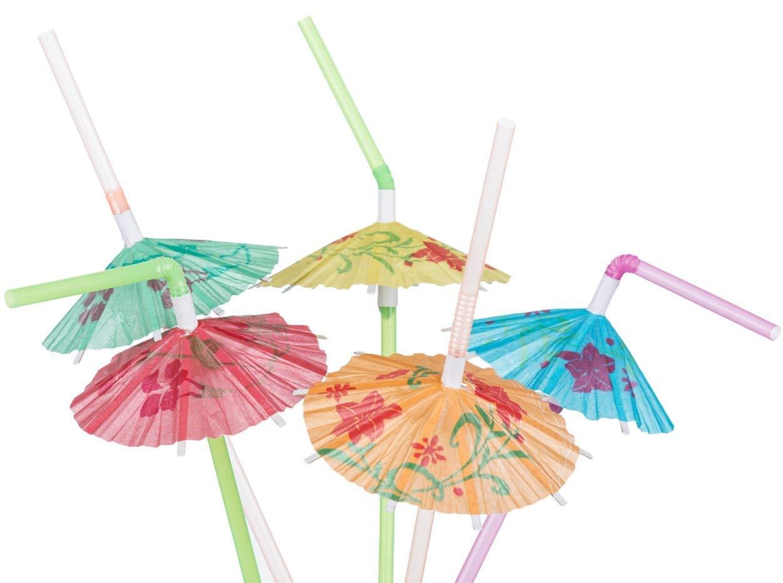 30 COCKTAIL UMBRELLA STRAWS 3D HAWAIIAN TROPICAL PARTY SUMMER BIRTHDAY BEACH BAR