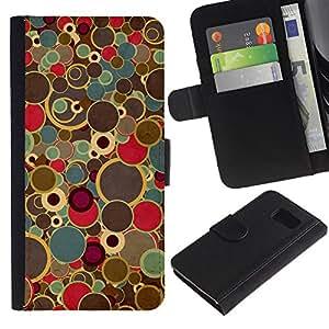 All Phone Most Case / Oferta Especial Cáscara Funda de cuero Monedero Cubierta de proteccion Caso / Wallet Case for Samsung Galaxy S6 // Retro Art Painting Dots Spots Colors Vintage