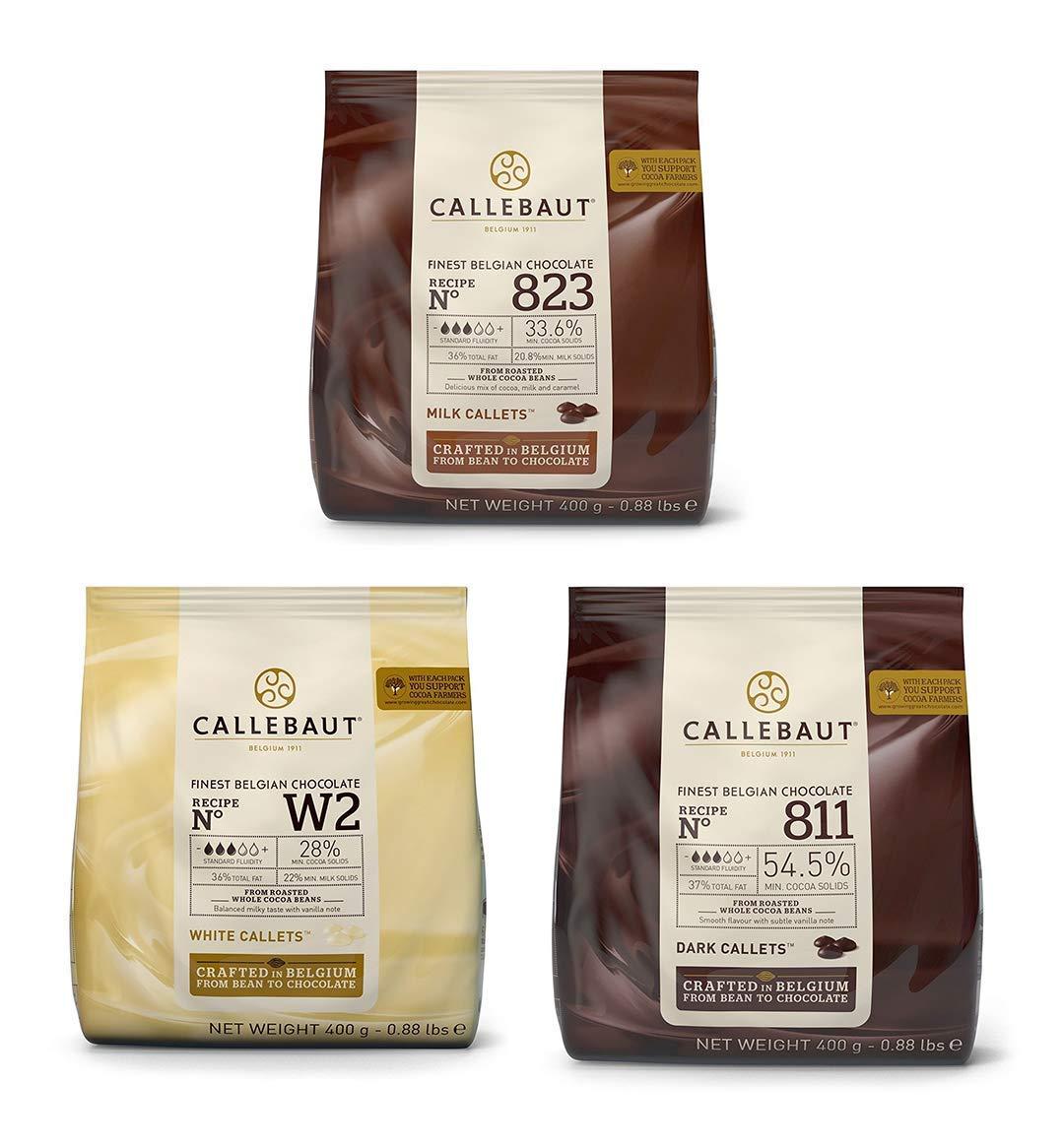 Callebaut Chocolate Bundle 3x400g Milk, Dark and White couverture callets