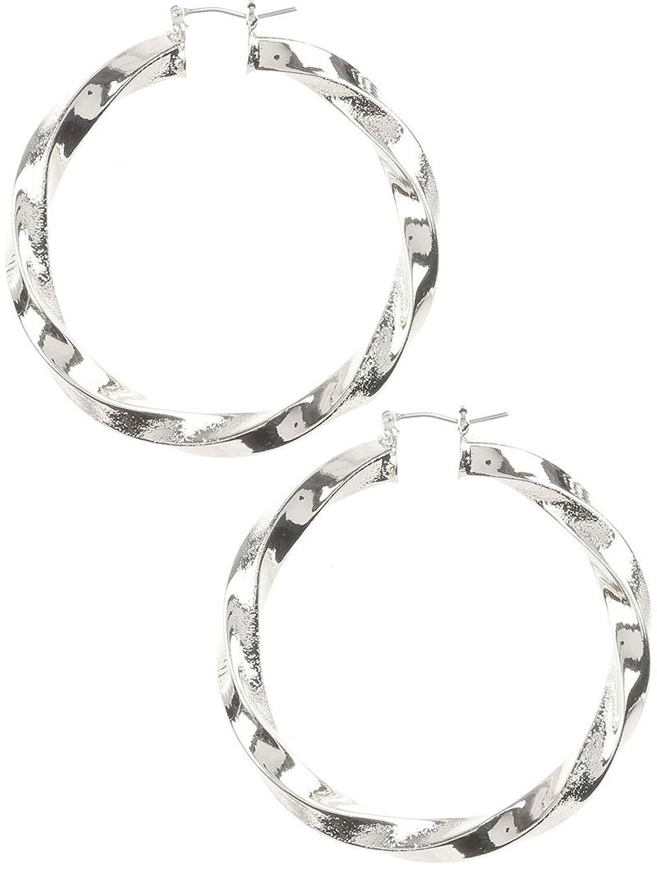 Destinee's silver TWISTED HOLLOW METAL HOOP EARRING