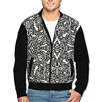 Snakes Rabbits Leaves Mens Zip Open Front Jacket Outwear
