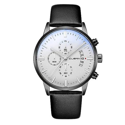 VEHOME Reloj de Lujo - Estilo de Negocios de Moda - Correa de Cuero - función de Calendario-Relojes Inteligentes relojero Reloj reloje hombresRelojes de ...