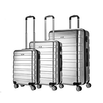 AMASAVA-Set of Tres Maletas Juego de Maletas Rígidas,Candado TSA,ABS+PC,4 Ruedas multidireccional,Plata: Amazon.es: Equipaje