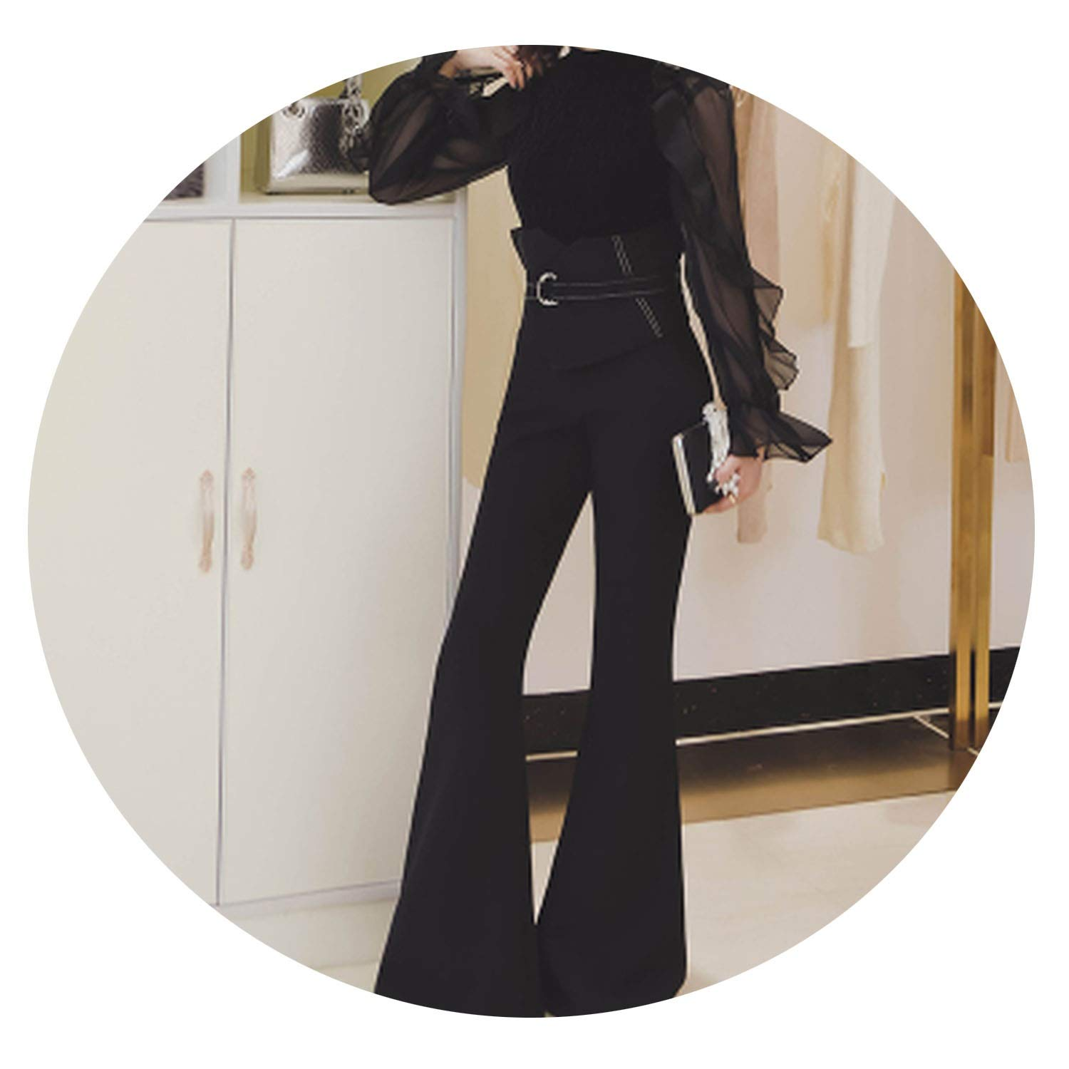 1 blueeshore Cotton Slim Flare Pants High Waist Long Trousers Women Office Work Pants Wide Leg Thin Female Trousers