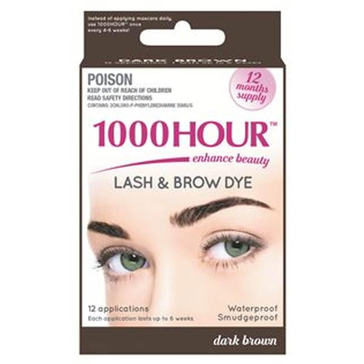 1000 Hour Eyelash & Brow Dye /Tint Kit Permanent Mascara (Dark Brown)