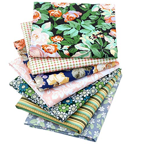New Foral Series Cotton Fabric Quilting Patchwork Fabric Fat Quarter Bundles Fabric for Sewing DIY Crafts Handmade Bags 40X50cm 7pcs/lot (Green Series)