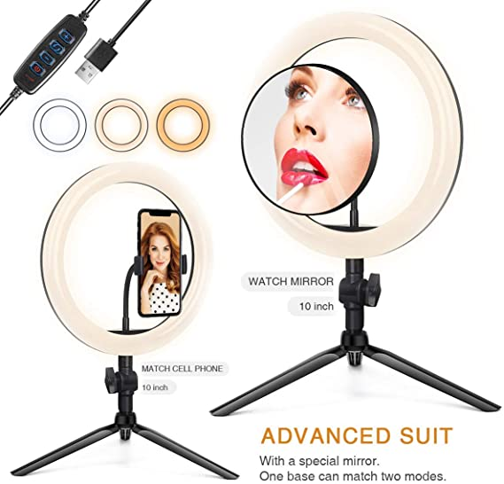 Plastic LED Ring Light with Tripod Stand 10 for Video and Makeup Cell Phone Holder Desktop LED Lamp with 3 Light Modes