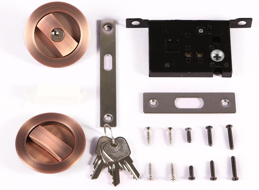 CCJH Invisible Barn Wood Sliding Door Gate Cup Handle Lock Hardware with Keys Dia-2.95 Black