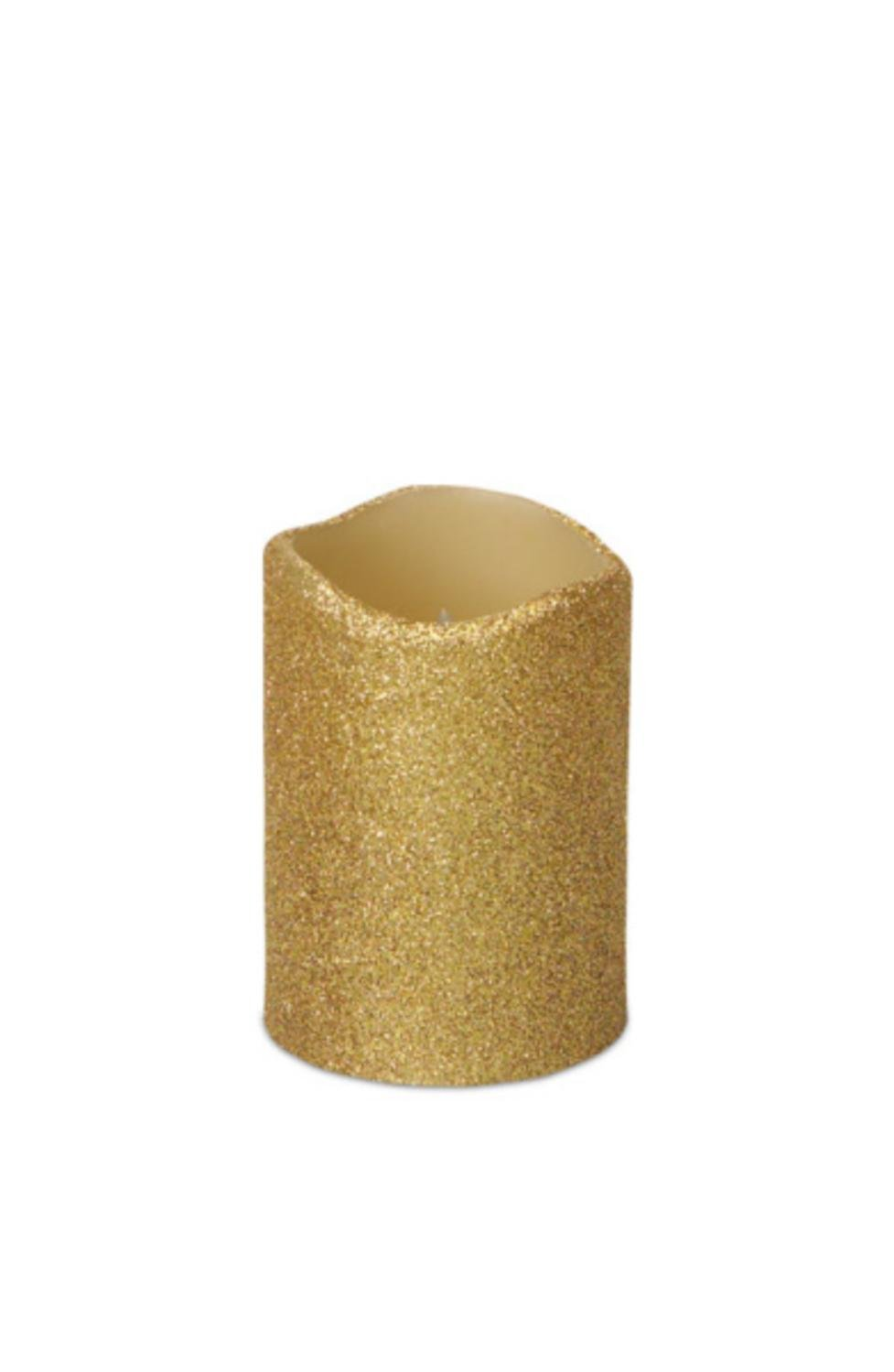 Pack of 6 Gold Glittered Flameless Wax LED Pillar Candles w/Timers 4''