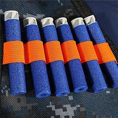 Tbest Boys Tactical Gun Vest with Bullets,Kids Elite Tactical Vest Kit with 20 Refill Bullets Darts for Nerf Guns N-Strike Elite Series for Boys Games(Black Nylon): Toys & Games