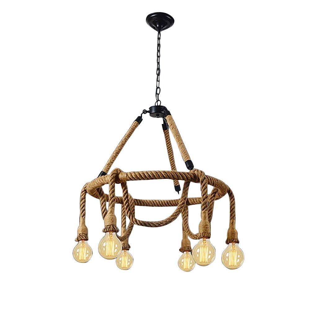 HAIXIANG 6 Light Hemp Rope Pendant Lamp Vintage Industrial Pendant Lamp Retro Edison Nautical Manila Rope Ceiling Light Fixtures