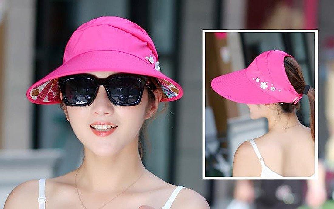 Westeng Sun Cap Ladies Foldable Beach Hat Wide Brim Plain Visor Hat Summer UV Sun Protection Travel Casual