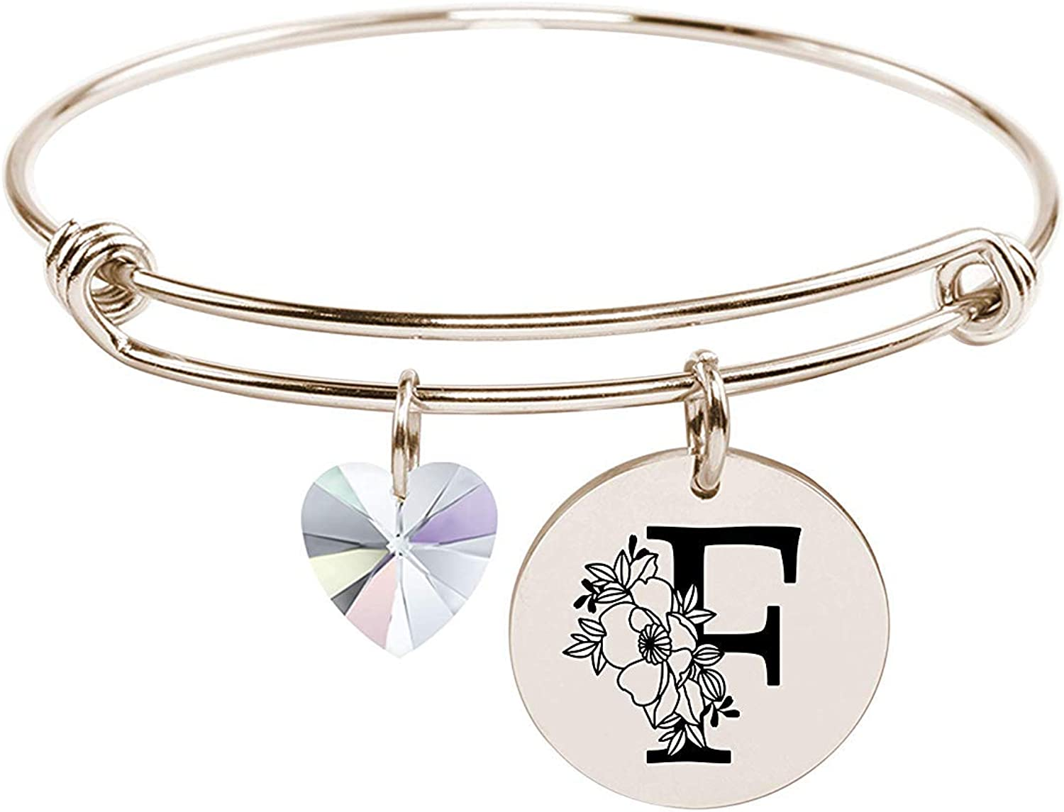 Pink Box Stainless Steel Floral Initial Bangle Made with Crystals from Swarovski - F - Gold [並行輸入品]