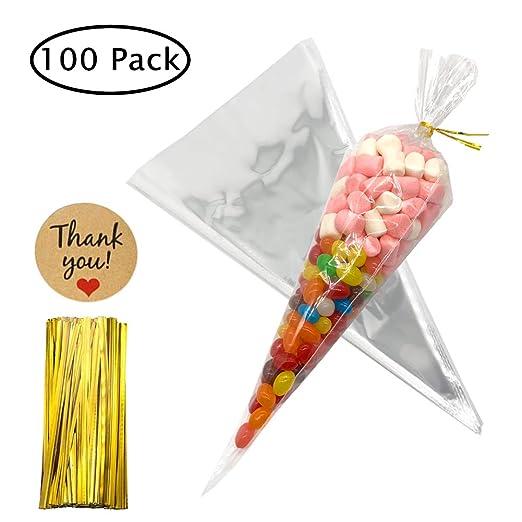 Bolsas de Cono Transparentes 100 piezas Bolsas de Celofán con lazos para dulces galletas regalos fiestas cumpleaños 16×30 cm