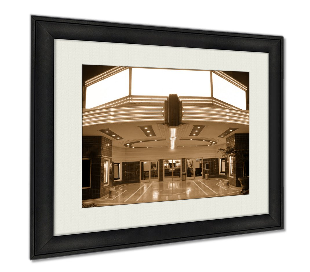 Ashley Framed Prints Tower Theater, Wall Art Home Decoration, Sepia, 30x35 (frame size), AG6105844
