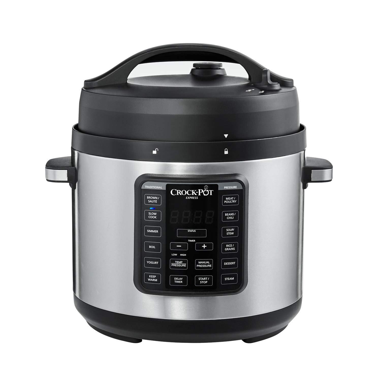 Crock-Pot 2100467 Express Easy Release   6 Quart Slow, Pressure, Multi Cooker, 6QT, Stainless Steel (Renewed)