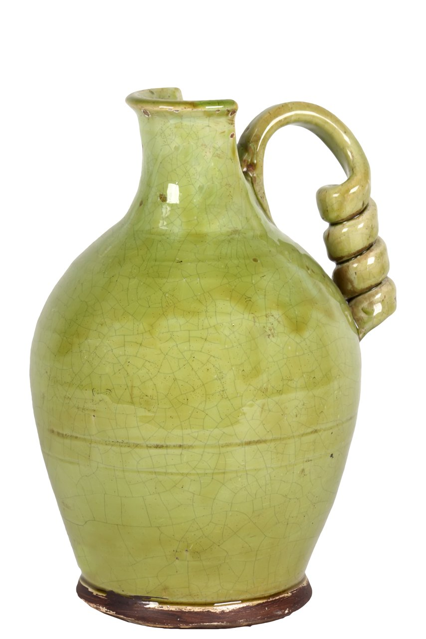 Benzara BRU-912468 Antiquated Traditional Ceramic Tuscan Vase with Broad and Round Body in Green B00JZT79IS