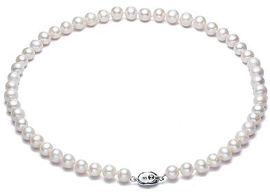 Gut Echtes Perl-collier Mit Silber-verschluss Uhren & Schmuck Hochzeitsschmuck