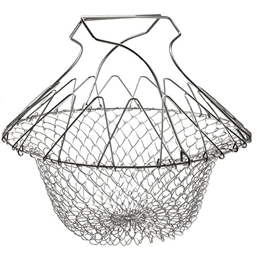 DayCount Foldable Deep Fry Steam Basket Stainless Steel Fryer Basket Present Fried Chip Strainer Portable Frying (9' Steamer Basket)
