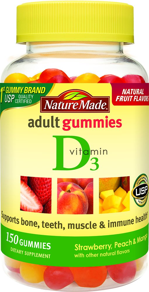 Nature Made Adult Gummies Vitamin D3, Value Size, 150 Count, Strawberry, Peach & Mango