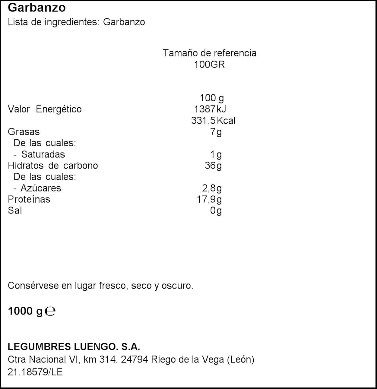 Luengo Garbanzo Selecto, 1kg: Amazon.es: Alimentación y bebidas