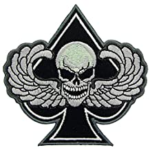 Skull with Wings Spade Patch Black & White 3 by FindingKing
