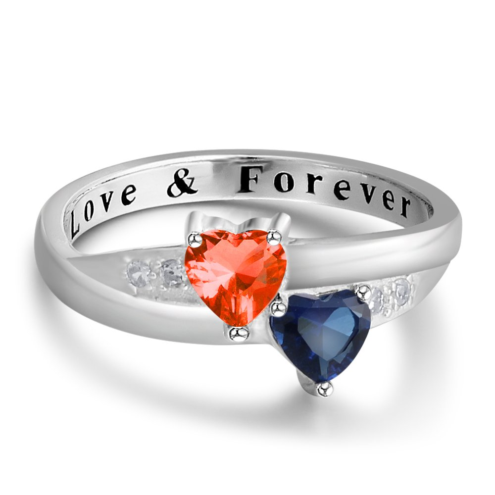 2 Simulated Birthstones Promise Rings for Her Love Forever Engraved Choose Your Color Engagement Rings (Jul-Sep, 7) by Diamondido (Image #1)