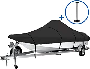 iCOVER Trailerable Boat Cover, 600D Heavy Duty Boat Cover Fits V-Hull Center Console Boat 17ft-19ft Long and Beam Width up to 96in, Windshield Height up to 30in, Boat Cover Support Pole Included