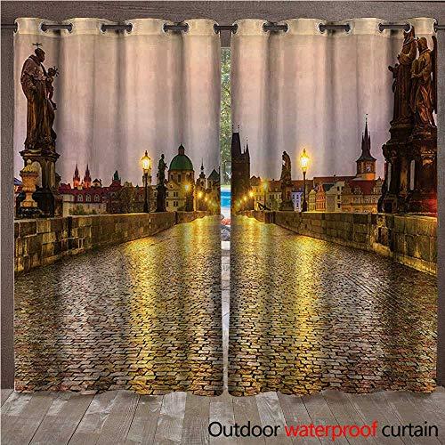 (WilliamsDecor Landscape Outdoor Balcony Privacy Curtain Charles Bridge Old Town Prague Czech Republic with Classic Medieval Buildings W72 x L96(183cm x 245cm))