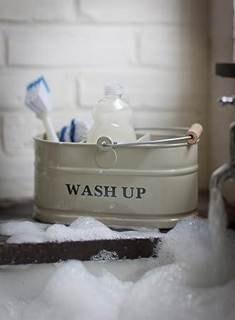 kitchen sink enamel washing up sink tidy shabby chic vintage style. Interior Design Ideas. Home Design Ideas