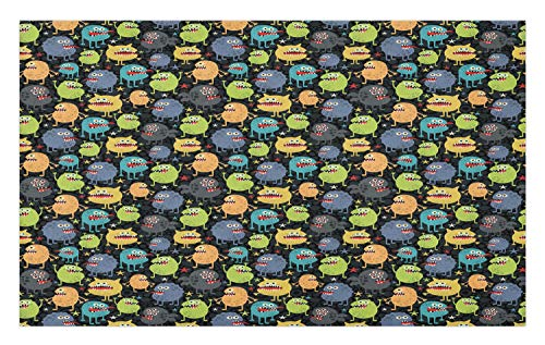 Ambesonne Alien Doormat, Funny Characters Cartoon Style Halloween Themed Monsters Abstract Background, Decorative Polyester Floor Mat with Non-Skid Backing, 30