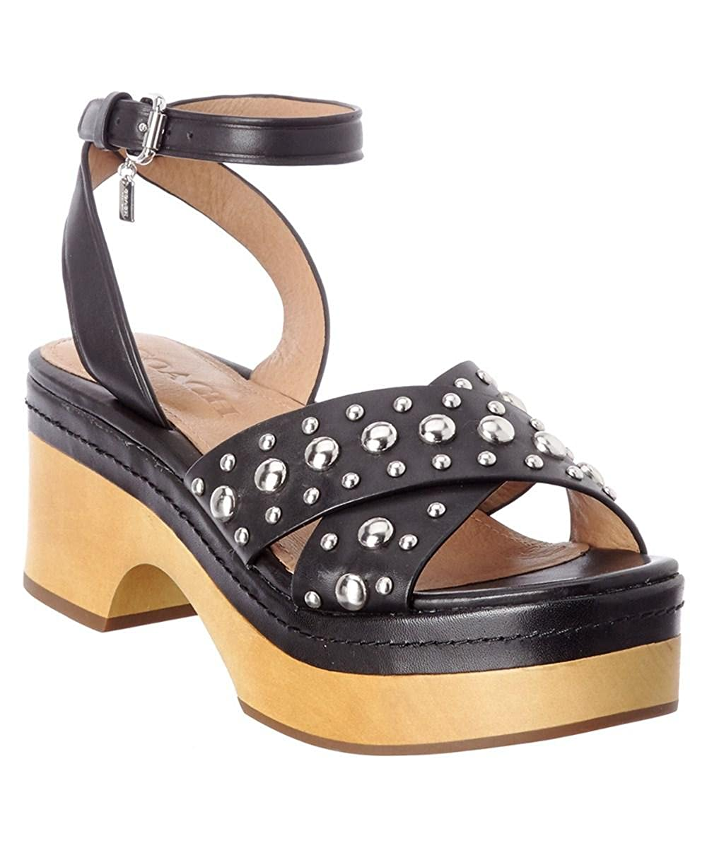 83ef8cf08b Amazon.com | Coach Astor Studded Platform Sandals, Black, 6M | Platforms &  Wedges