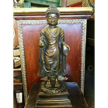 Standing Buddha Sculpture Handmade Brass Statue Religious Indan Art, Yoga Room Decor