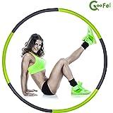 COZYPONY フラフープ 組み立て式6本 シェイプアップ スポーツ エクササイズ ダイエット 直径95cm 緑&黒