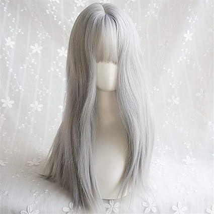 Peluca femenina Aire Bangs Plata mullida blanca larga peluca de pelo rizado grande linda onda natural del pelo largo para mujeres pelucas sintéticas de calidad con: Amazon.es: Belleza