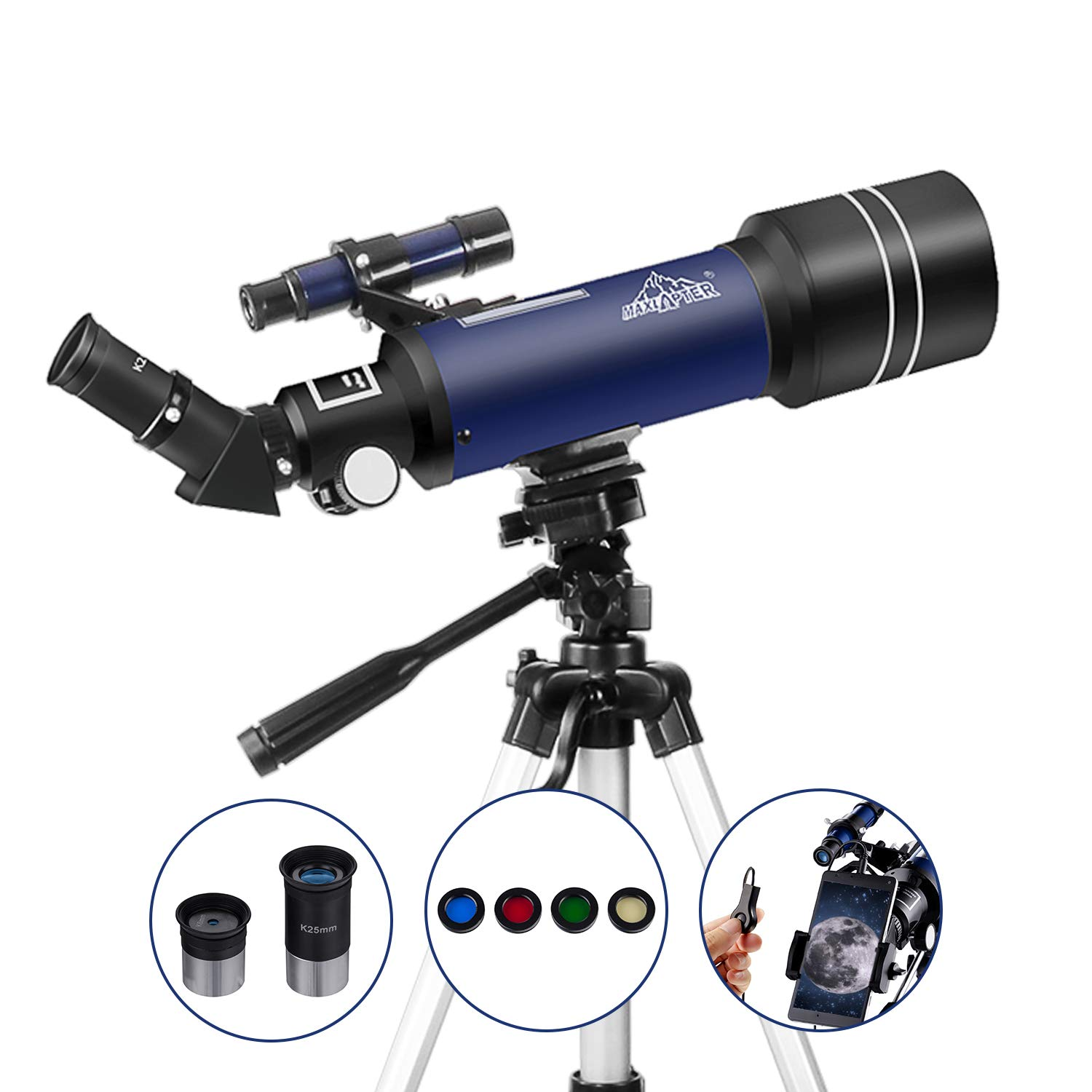 MAXLAPTER Refractor Astronomy Telescope for Kids Beginners Teenagers, Dual-Use with 43 inch Tripod Smartphone Adapter Portable Case Accessories, 400/70mm HD High Magnification ...