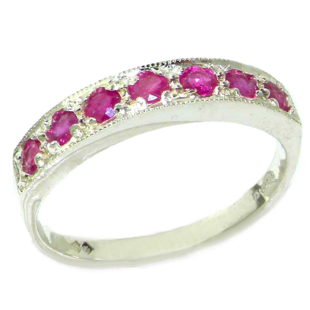 LetsBuyGold 18k White Gold Natural Ruby Womens Band Ring - Sizes 4 to 12 Available