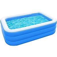 QINGCHU Piscina hinchable rectangular para jardín, piscina familiar, piscina hinchable, fiesta…