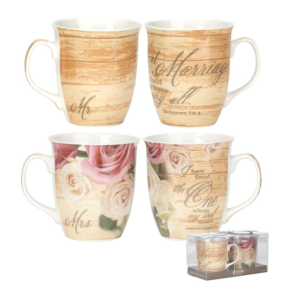 Mr. & Mrs. Wood Look Rose Floral 16 Ounce Ceramic Coffee Mugs Gift Boxed Set of 2
