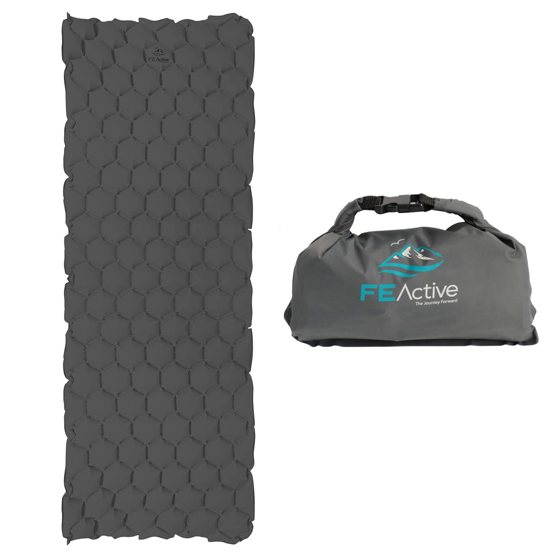 FE Active - Colchoneta para Dormir Camping Colchón de Aire Ligero para Acampar Colchón Inflable Resistente al Agua para el Aire Libre, Mochilero, ...